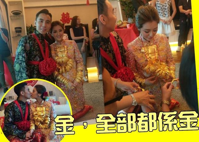 金猪寓意,TVB小花张名雅出嫁,脖子上戴满金镯金猪,尽显富贵!