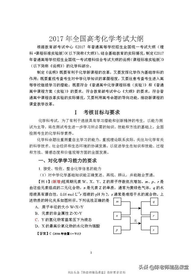 34页pdf「化学」2017年全国高考化学考试大纲(带题型示例的出处)