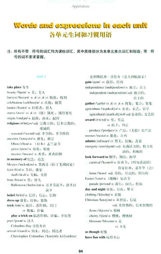 高中英语必修3第一单元单词朗读