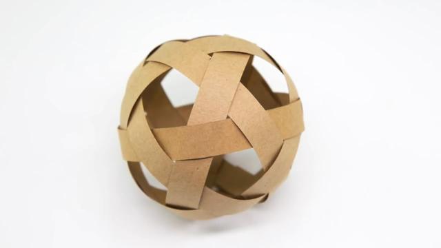 怎么做球,用纸也能编织,看看手工达人是如何用纸条编织圆球的(图解)