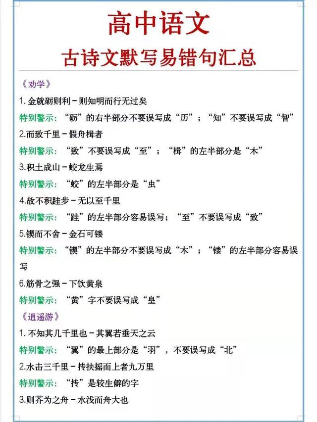 老师:高中语文古诗文易错句整理,历年常考句子,多看一眼不丢分