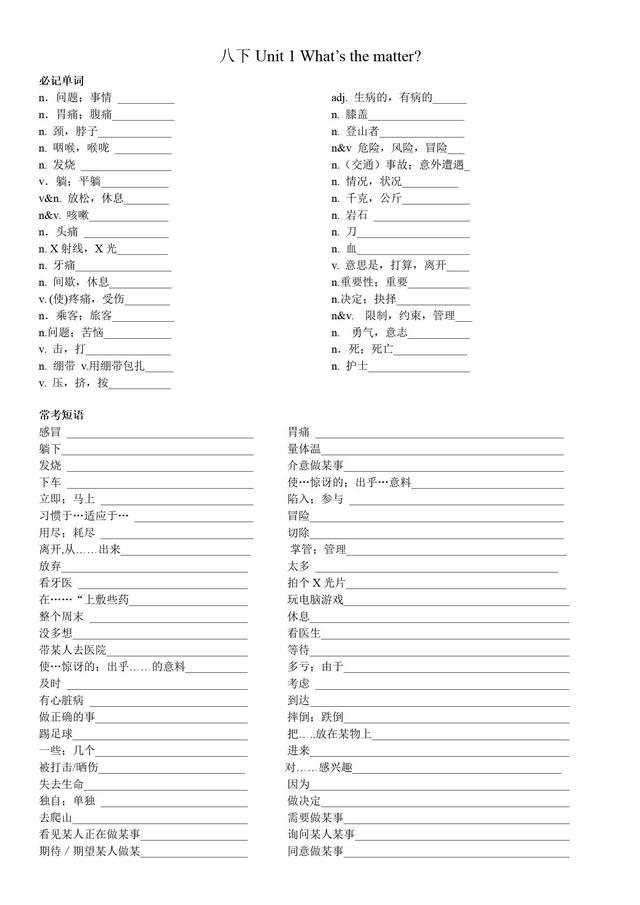 人教版八年级下册初中英语单词 ,短语,期末复习