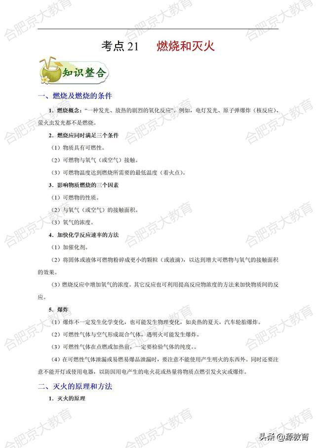 合肥京大教育2021年初中化学知识点一遍过(专题21)