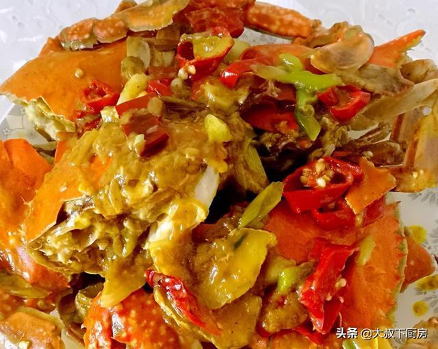 咖喱蟹的做法,今日菜谱:大叔教你咖喱蟹,鲜香味美,简单易学,家人爱吃