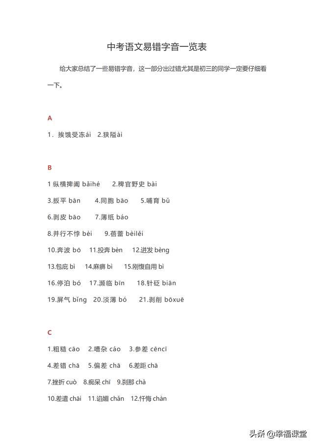 中考语文易错字音一览表