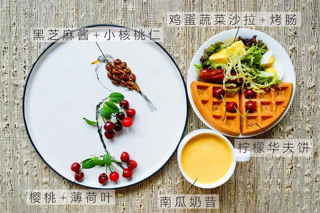 华夫饼的吃法,趣味早餐食谱:柠檬华夫饼搭配蔬菜鸡蛋沙拉