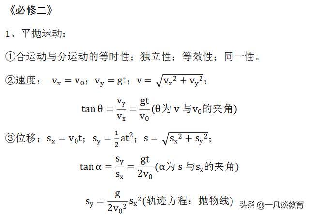 高中物理《必修二》------课本必备公式大全