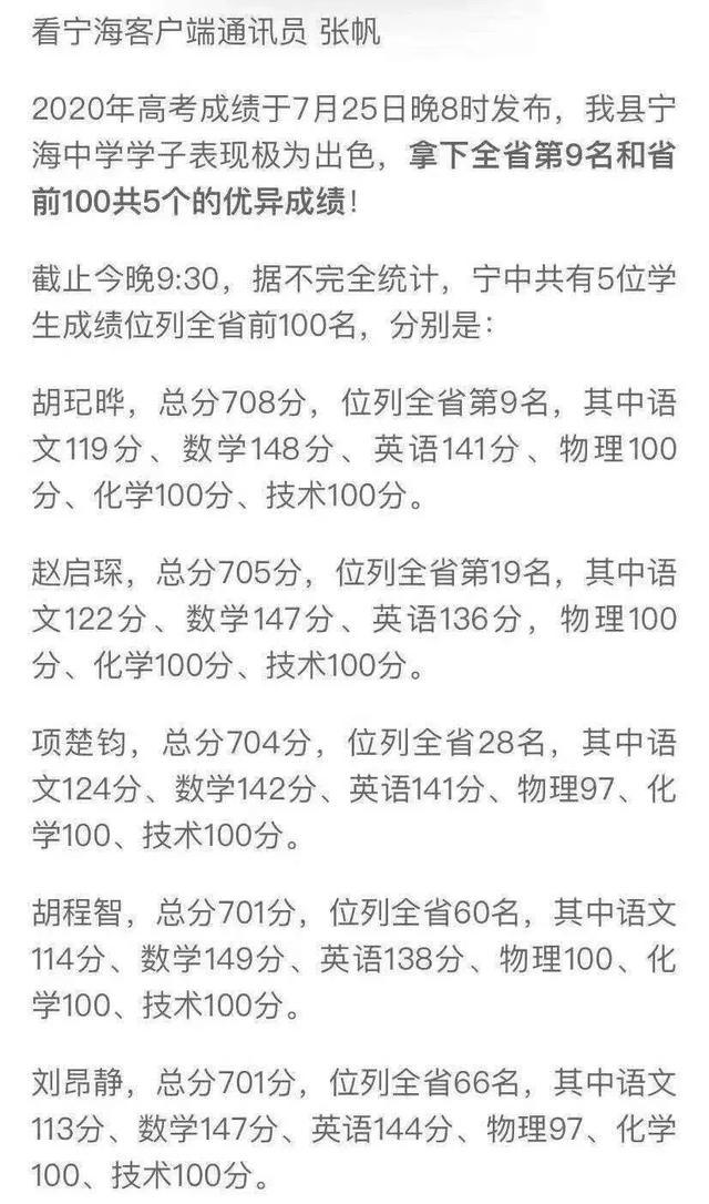 2015浙江高考成绩查询,高考成绩出炉,浙江省前一百名宁波足足占据38个名额