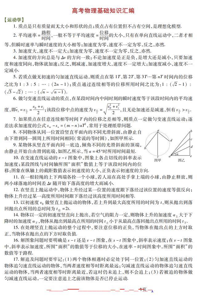 物理成绩差?高中物理各板块125个重要知识点和55道经典复习题