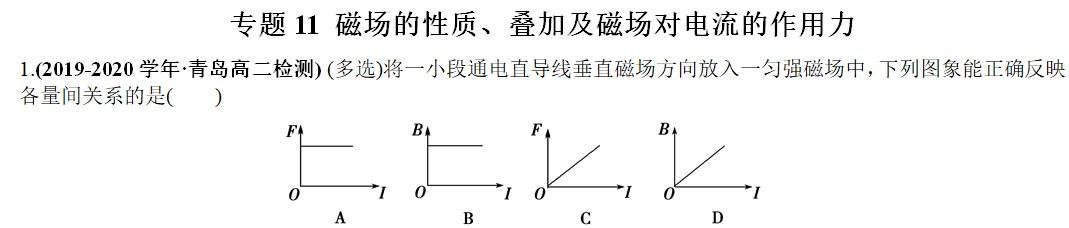 专题11 磁场的性质、叠加及磁场对电流的作用力