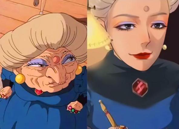 动漫人物图片,当动漫角色变年轻,汤婆婆变大美女,小丸子爷爷被吐槽是埼玉老师