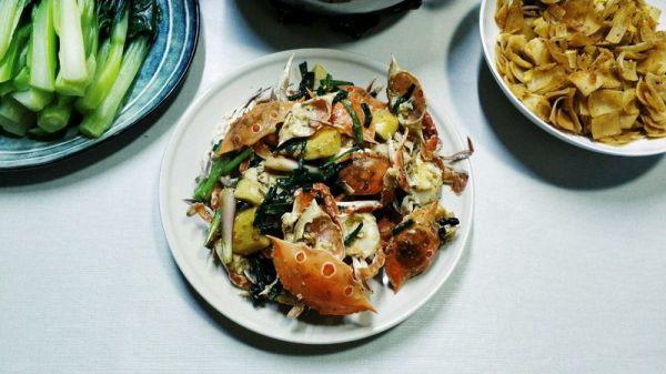 花蟹的吃法,姜葱炒花蟹仔