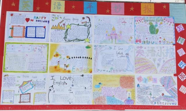 英语手抄报图片,安康市汉滨区县河九年制学校学生制作英语手抄报