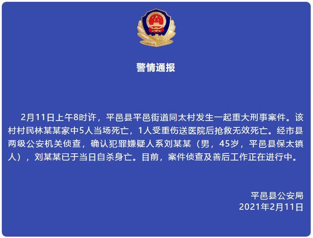 山东平邑发生一起重大刑事案件造成6人死亡,警方通报