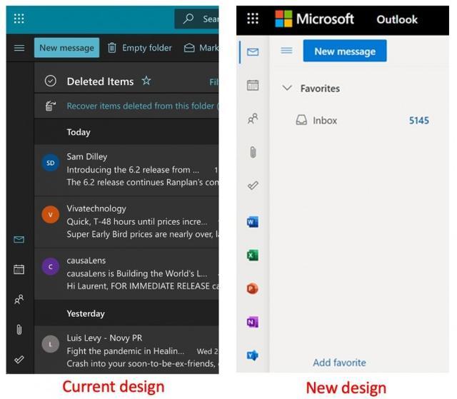 网页端,网页端Outlook将新增应用栏:快速启用Word等应用
