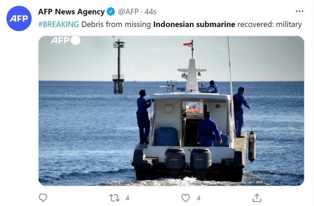 快讯!外媒:印尼搜救人员找到了载53人失踪潜艇残骸 全球新闻风头榜 第1张