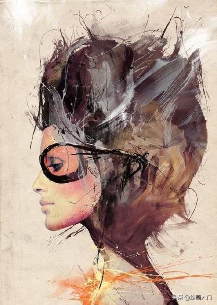 画画图片,张狂的线条,泼洒的情绪,浓墨重彩个性张扬的人物肖像插画