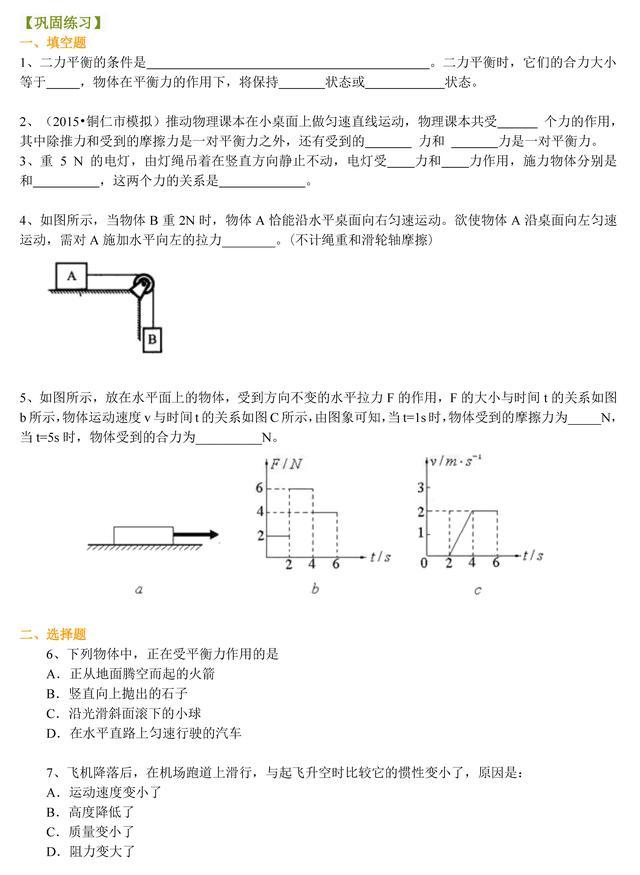二力平衡的条件,初中物理:「二力平衡」专项练习,初中生请收藏!