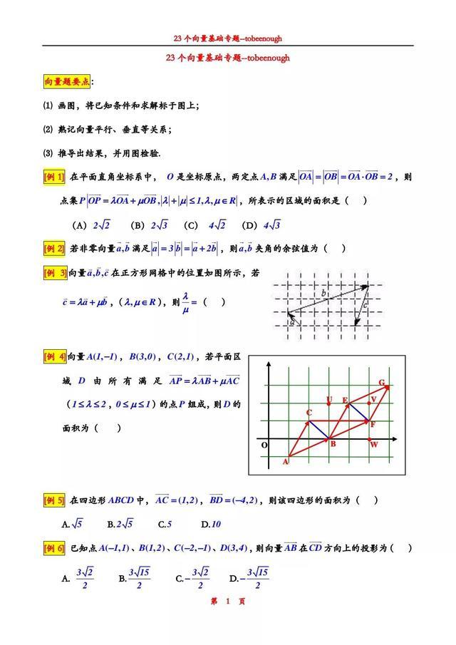 老师:高中数学这23道向量例题,是历年常考的典型题,要掌握