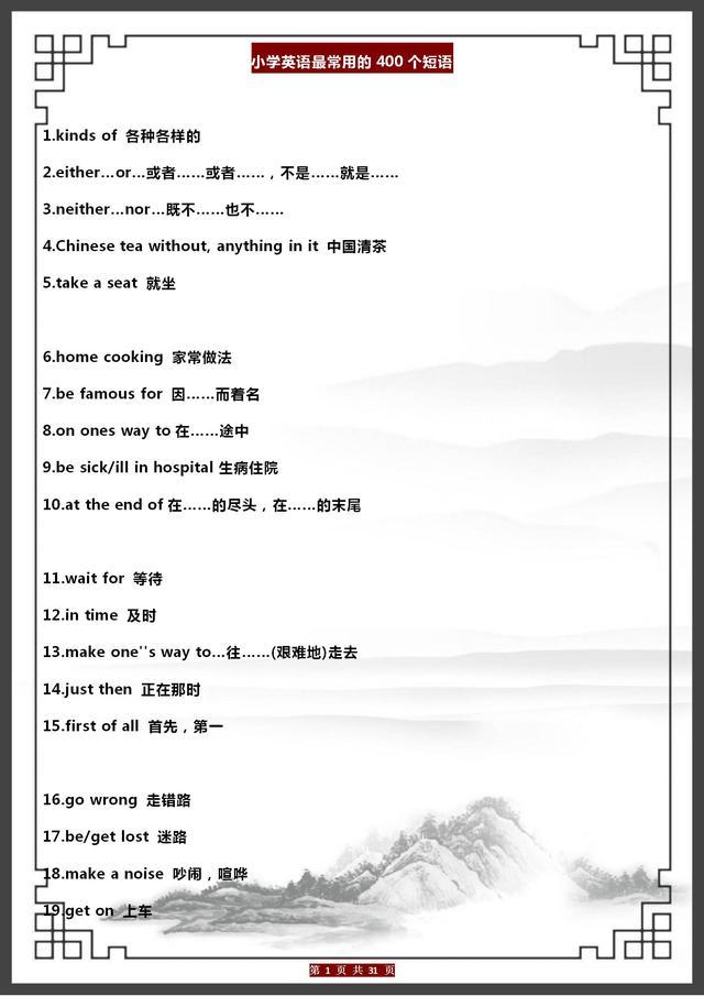 小学英语:400句最常用的短语大全,建议家长打印给孩子背