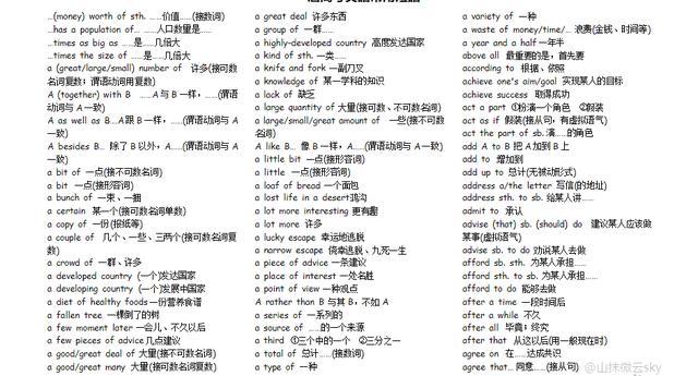 高考英语常用短语