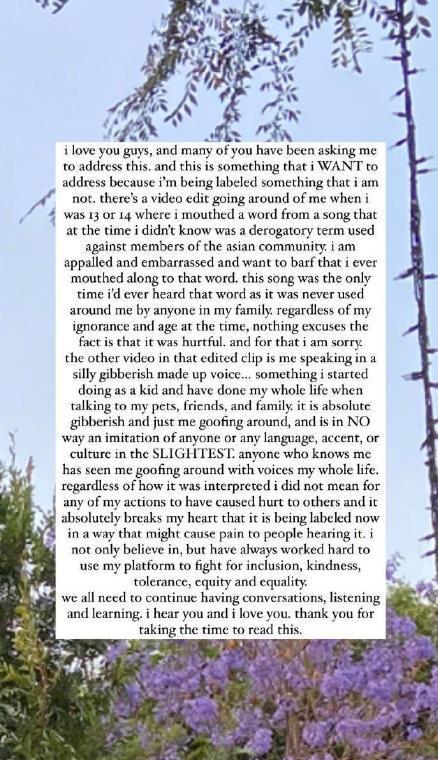 碧梨为歧视亚裔发长文道歉 称不知是贬低亚裔的词