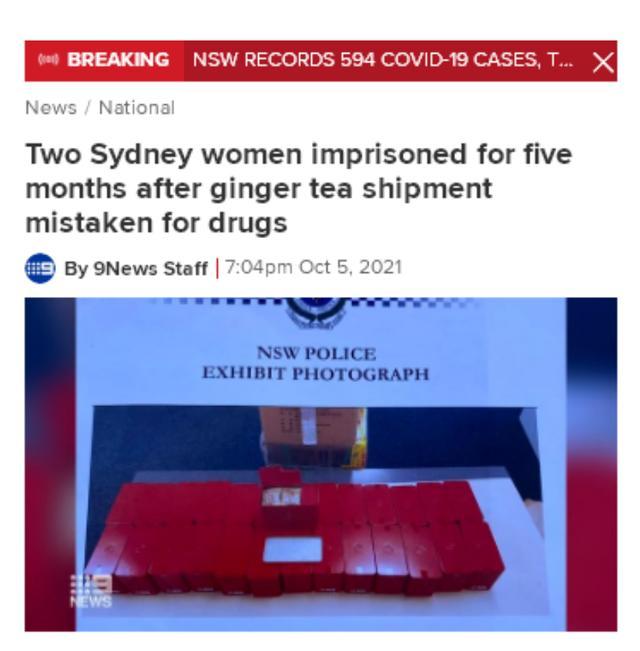 悉尼华女订购中国姜茶被误认毒品 含冤入狱5个月