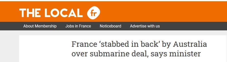 """美国要用核潜艇武装澳大利亚,法国外长表示""""很受伤"""":这是在我们背后捅刀子"""