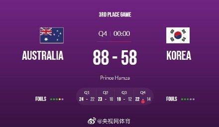 女篮亚洲杯-澳大利亚队大胜韩国获得季军