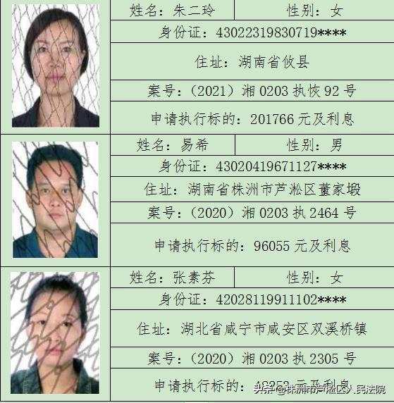 芦法曝光台:失信被执行人黑名单(2021年第10期