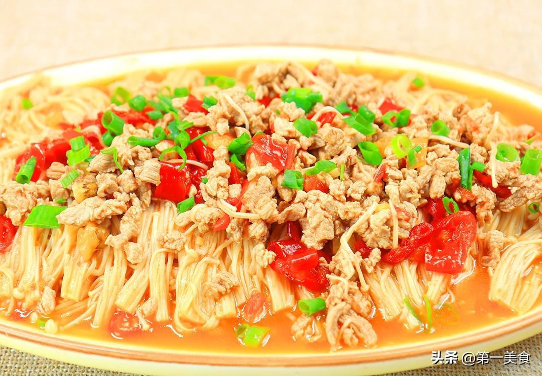 【肉末金针菇】做法步骤图 鲜香入味 做一大盘不够吃