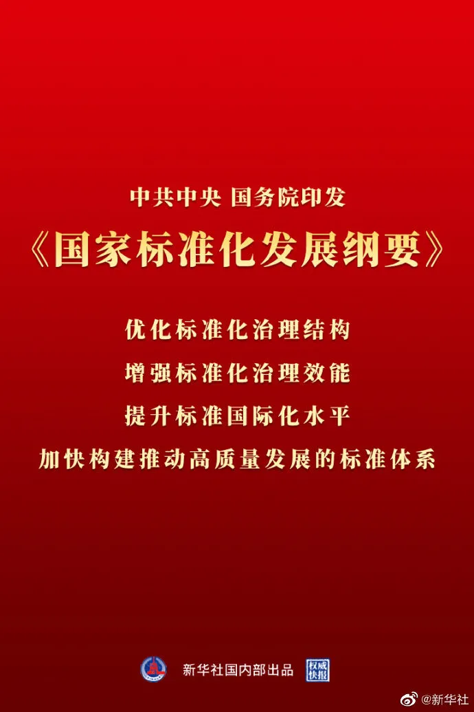 【政策发布】中共中央 国务院印发《国家标准化发展纲要》